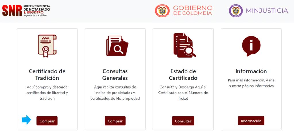 Cómo consultar y generar su certificado de tradición y libertad - Paso 1